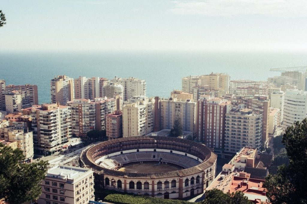 Birds eye view of Malaga's city skyline