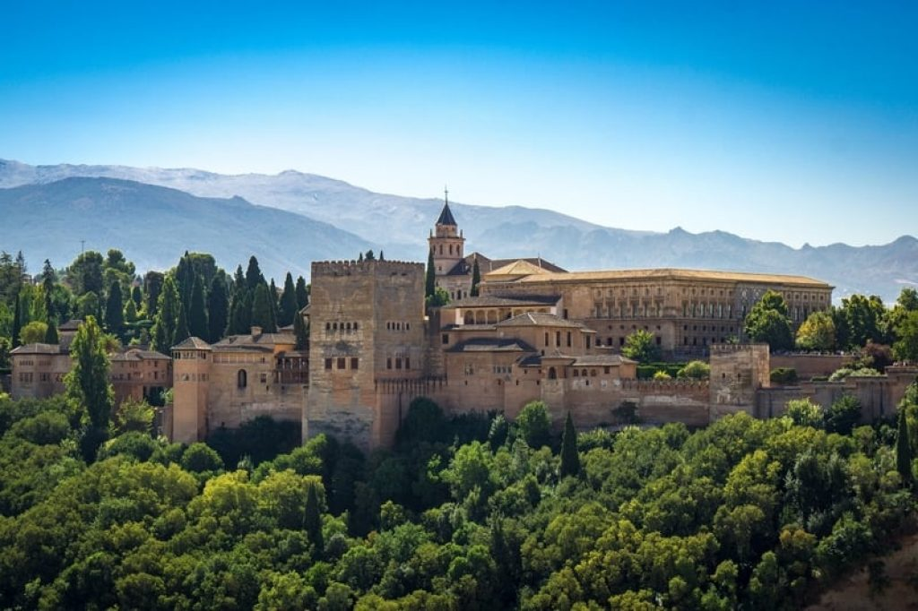View-of-Alhambra-with-Sierra-Nevada-mountain-behind