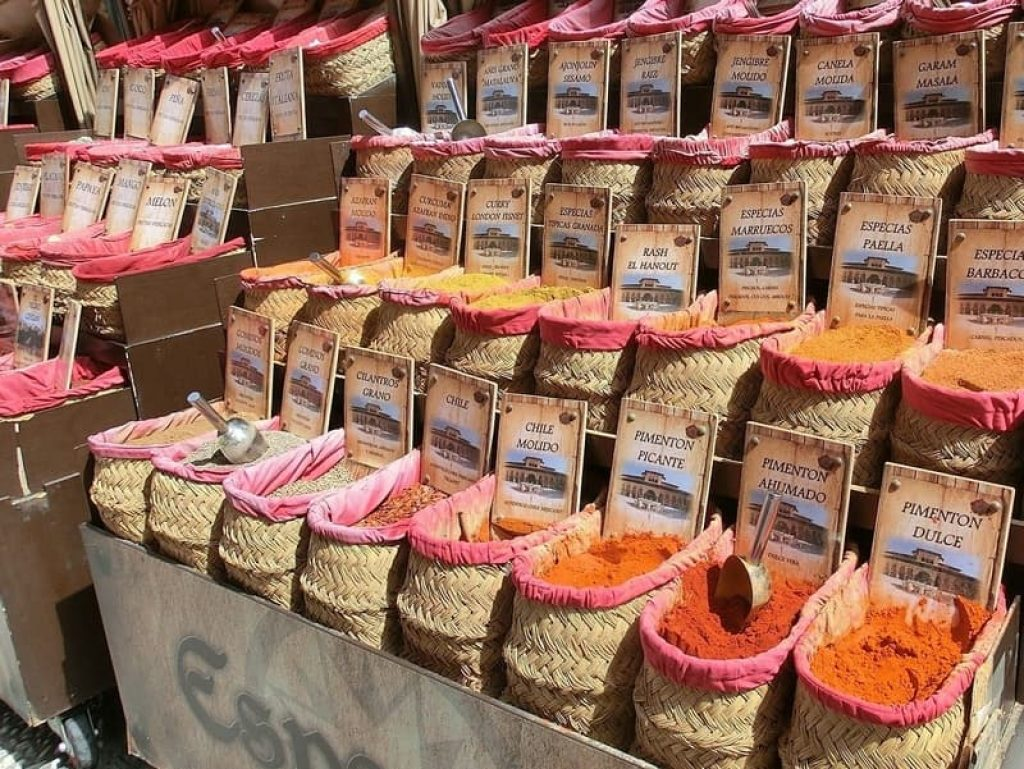 Bags-of-spices-on-display-in-market