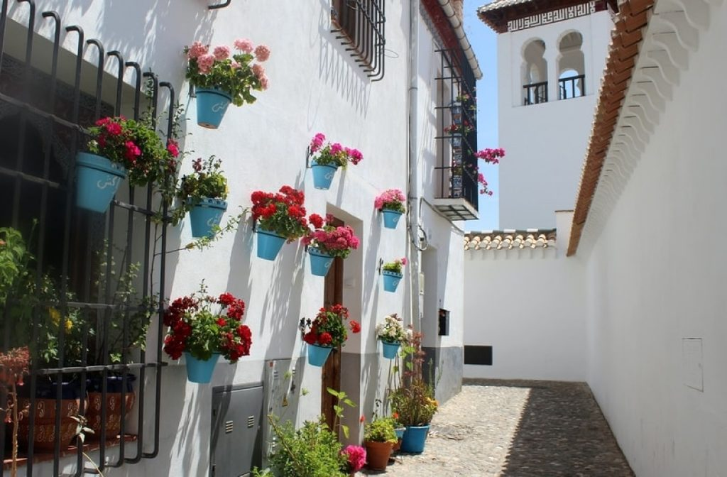 white spanish buildings with colourful flowers